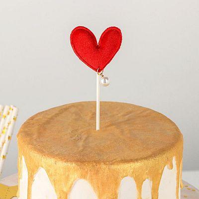 Топпер на торт «Сердце», 17,5×8 см, цвет красный