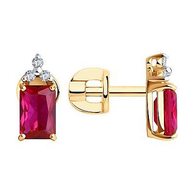 Серьги SOKOLOV из золота с бриллиантами и корундами