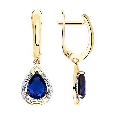 Серьги SOKOLOV из золота с бриллиантами и синими корундами