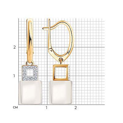 Серьги SOKOLOV из золота с бриллиантами и керамическими вставками