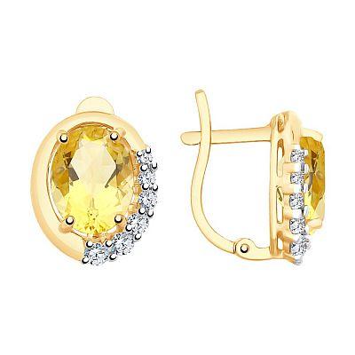 Серьги SOKOLOV из золота с цитринами и фианитами