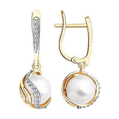 Серьги SOKOLOV из золота с бриллиантами и жемчугом