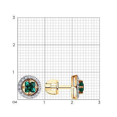Серьги SOKOLOV из золота с бриллиантами и изумрудом гидротермальным