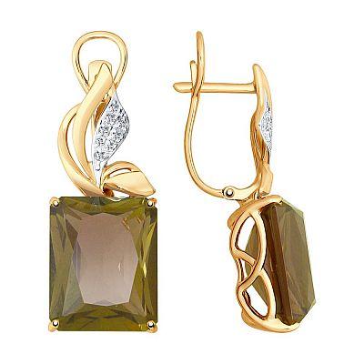 Серьги SOKOLOV из золота с ситаллами султанит и фианитами