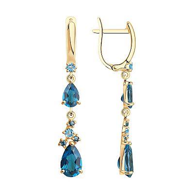 Серьги SOKOLOV из золота с голубыми и синими топазами
