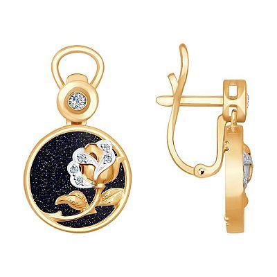 Серьги SOKOLOV из золота с бриллиантами и авантюриновое стекло