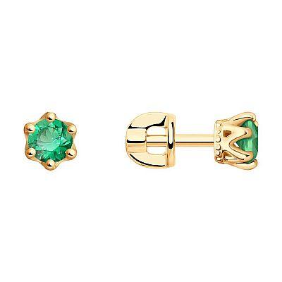 Серьги SOKOLOV из золота с зелеными фианитами
