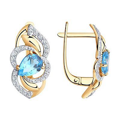 Серьги SOKOLOV из золота с голубыми топазами и фианитами