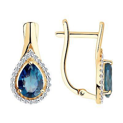 Серьги SOKOLOV из золота с синими топазами и фианитами