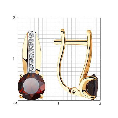 Серьги SOKOLOV из золота с гранатами и фианитами