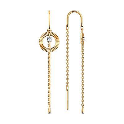 Серьги SOKOLOV из золота с алмазной гранью с фианитами