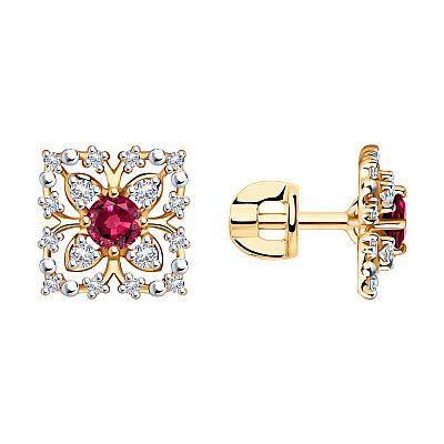 Серьги-пусеты SOKOLOV из золота с бриллиантами и рубинами