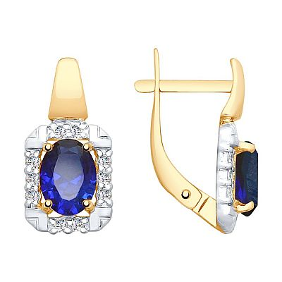 Серьги SOKOLOV из золота с синими корунд (синт.) и фианитами