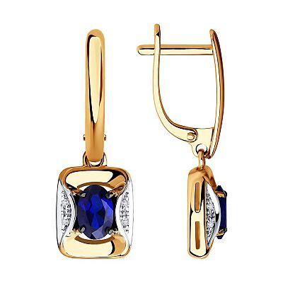 Серьги SOKOLOV из золота с бриллиантами и синими корунд (синт.)