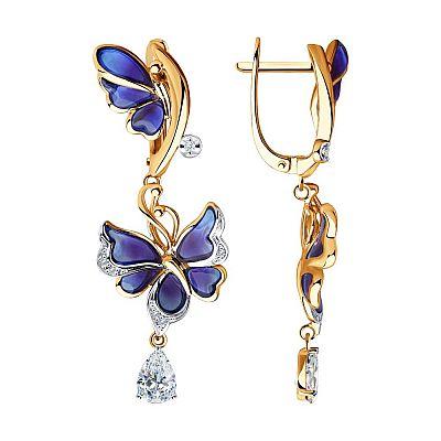 Серьги SOKOLOV из золота с бриллиантами и бесцветными топазами