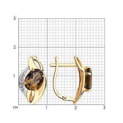 Серьги SOKOLOV из золота с раухтопазами и фианитами