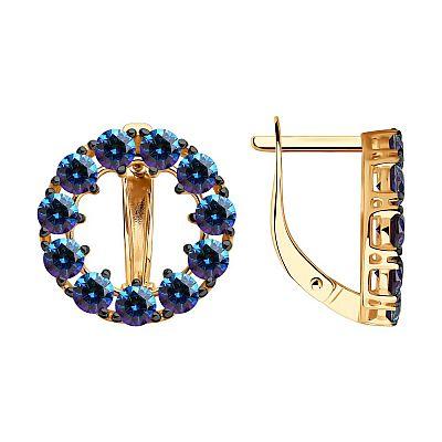 Серьги SOKOLOV из золота с синими Swarovski Zirconia