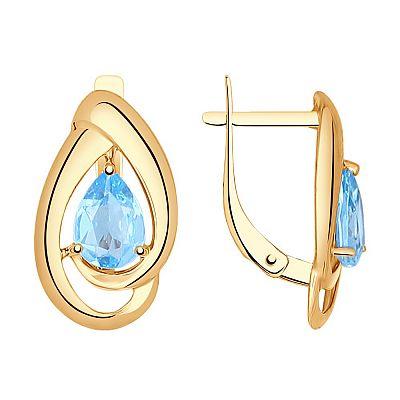 Серьги SOKOLOV из золота с голубыми топазами