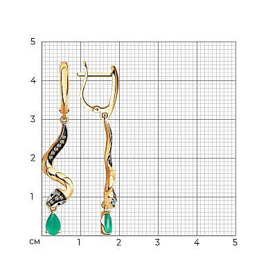 Серьги SOKOLOV из золота с бриллиантами и изумрудами