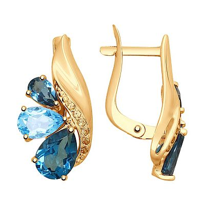 Серьги SOKOLOV из золота с голубыми и синими топазами и фианитами