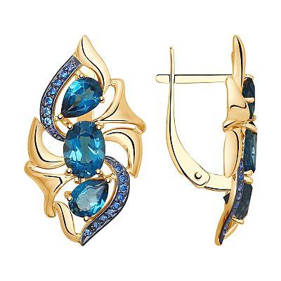 Серьги SOKOLOV из золота с синими топазами и синими фианитами