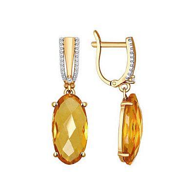 Серьги SOKOLOV из золота с фианитами и цитринами
