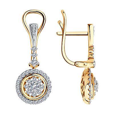 Серьги SOKOLOV из золота с родированием с бриллиантами