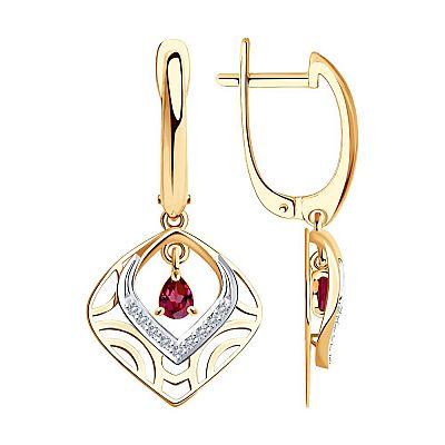 Серьги SOKOLOV из золота с бриллиантами и рубинами