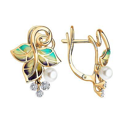 Серьги SOKOLOV из золота с эмалью с бриллиантами и жемчугом