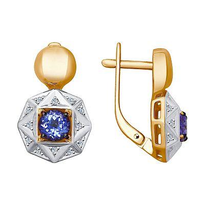Серьги SOKOLOV из золота с бриллиантами и танзанитами