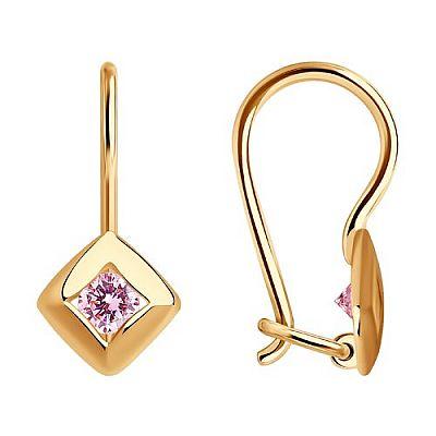 Серьги SOKOLOV из золота с розовыми фианитами