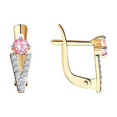 Серьги SOKOLOV из золота с бесцветными и розовыми фианитами