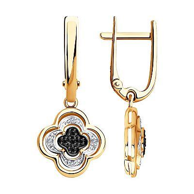 Серьги SOKOLOV из золота с бесцветными и чёрными бриллиантами