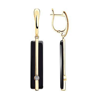 Серьги SOKOLOV из золота с бриллиантами и чёрной керамикой