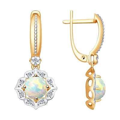 Серьги SOKOLOV из золота с бриллиантами и опалами