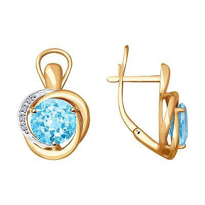 Серьги SOKOLOV из золота с бриллиантами и топазами