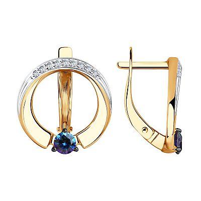 Серьги SOKOLOV из золота с бесцветными и синими Swarovski Zirconia