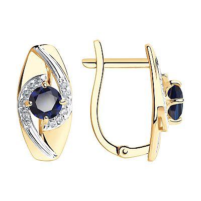 Серьги SOKOLOV из золота с синими корундами и фианитами