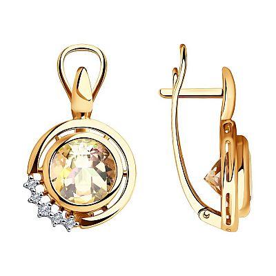 Серьги SOKOLOV из золота с бриллиантами и морганитами