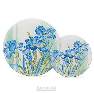 Тарелка Домовой Голубые ирисы, 19см, стекло